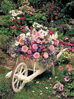 Carrinho de mão com flores no jardim - reciclagem