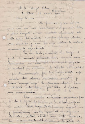 Carta Manuscrita de Joaquim Aulina 20 de agosto de 1941 (1)