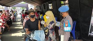 Agar Berjalan Lancar, Sipropam Polres Pelabuhan Makassar lakukan Pengamanan dan Pengawasan Vaksinasi