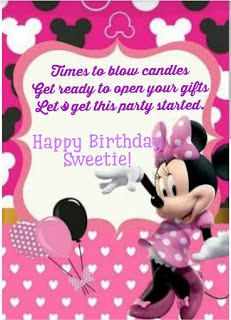 Birthday greetings with Minnie mouse background, Birthday quotes for kids.
