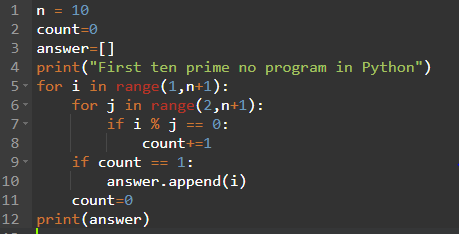 Python program to find first 10 prime numbers