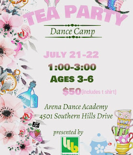pastel florals provide a background for details on the Arena's tea party dance camp for preschoolers