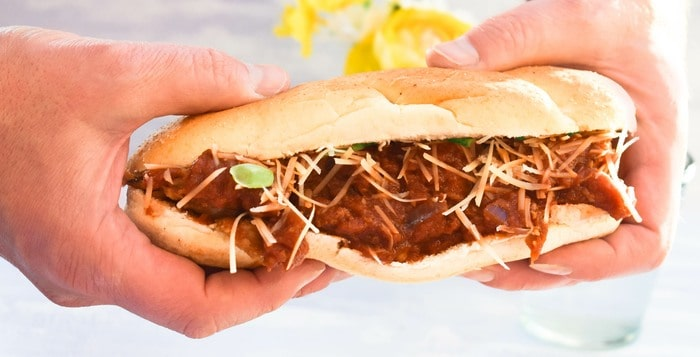 close up of a vegan 'meatball' sub