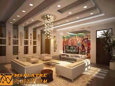 Decoration gypsum decoration platre plafond - Decoration plafond salon ...