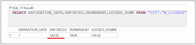SAP HANA license SQL check