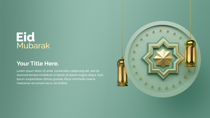 Eid Mubarak Festival Abstract Religious Design With 3D Concept