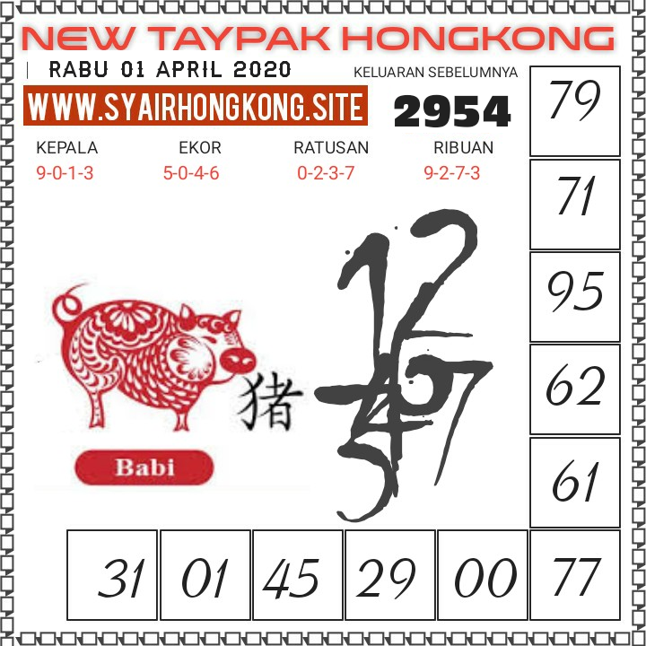 Bocoran HK Malam Ini Rabu 01 April 2020 - New Taypak Hongkong
