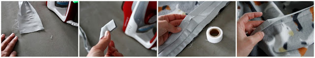 Using iron-on hemming tape to secure the raw end of binding for easy sewing