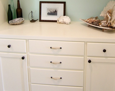 Nautical Dresser Makeover with Rope Handles