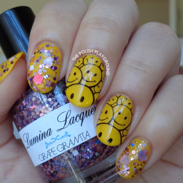 Yellow Smiley Face Stamping with Purple Glitter Nail Art