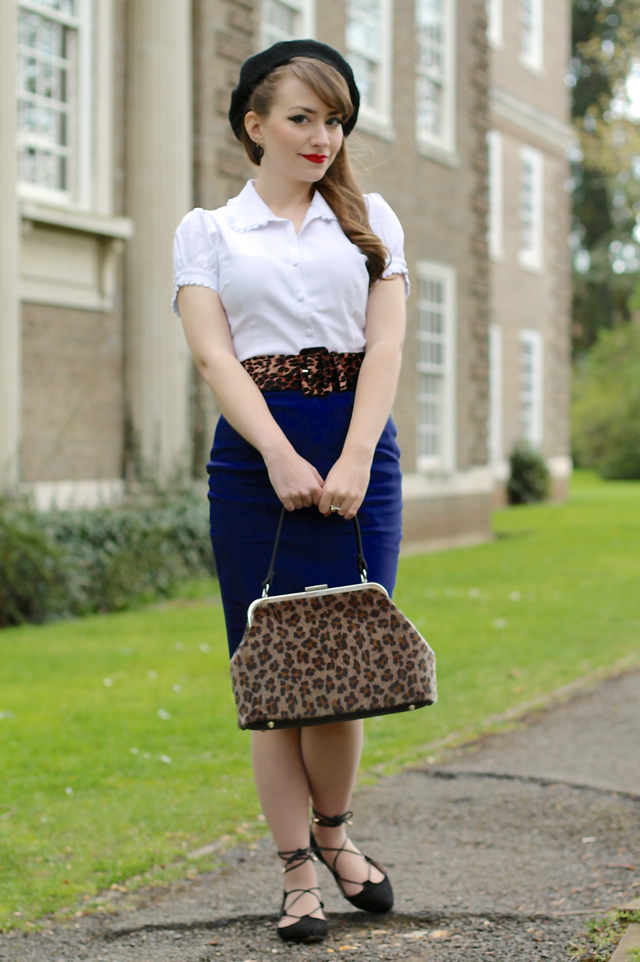 Sourpuss Lolita shirt, classic pencil skirt & leopard print Betsy frame bag