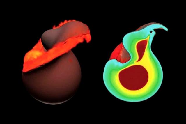 Ilustração artística mostra 1 hora após o impacto entre Theia e a Terra visto através de simulação de computador - à direita vemos a localização dos núcleos da Terra e de Theia após o impacto