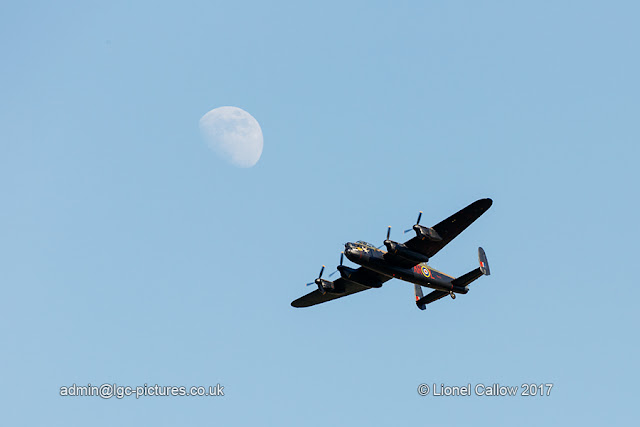 BBMF Lancaster flying by the moon