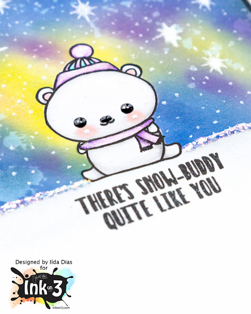 Snow Buddy Northern Lights Sparkle Card | Ink On 3 | by ilovedoingallthingscrafty.com