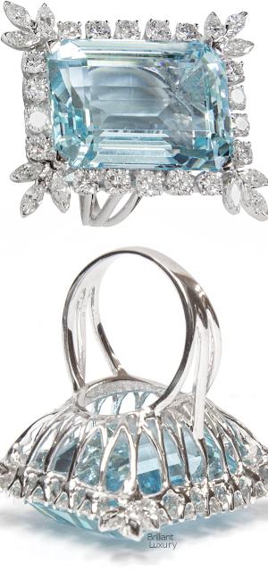 Brilliant Luxury♦47 Carat Natural Aquamarine Diamond Platinum Statement Ring