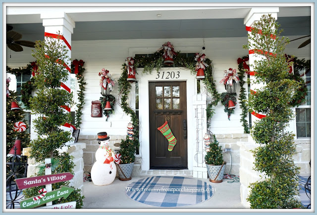 Cottage -Farmhouse -Christmas -Porch-Jingle Bells-Blow Mold-Snowman-Bows -From My Front Porch To Yours