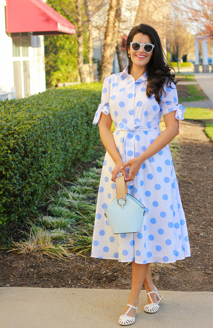 Spring Dressing Idea, Blue And White Polka Dot Dress, Cotton Polka Dot Shirt Dress, Dress With Tie Sleeves, Dress With Bows At The Sleeves. eShakti Discount Coupon, eShakti Dress Review