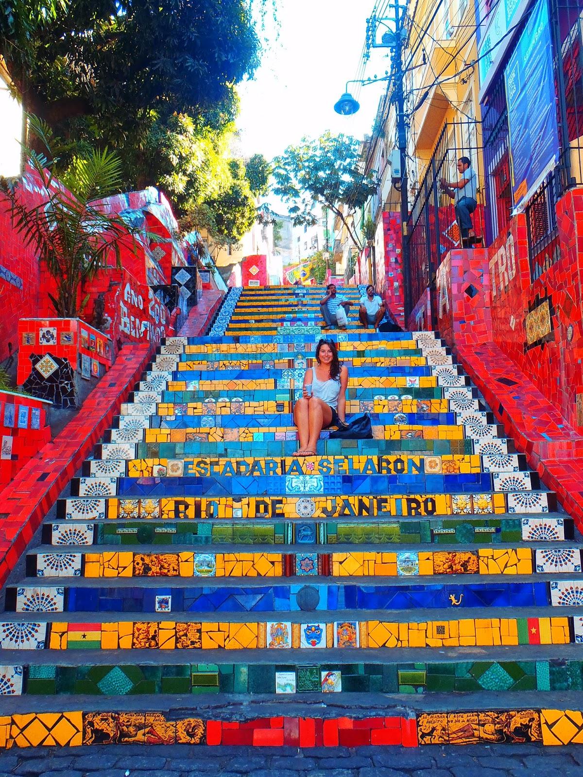 Girl sitting on Escadaria Selaron Rio de Janeiro