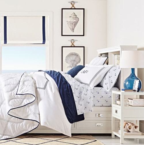 Blue and White Nautical Bedroom