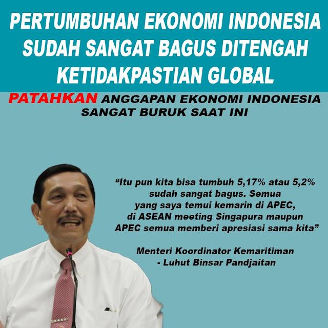 Pertumbuhan Ekonomi Indonesia Sudah Sangat Bagus Ditengah Keridakpastian Global