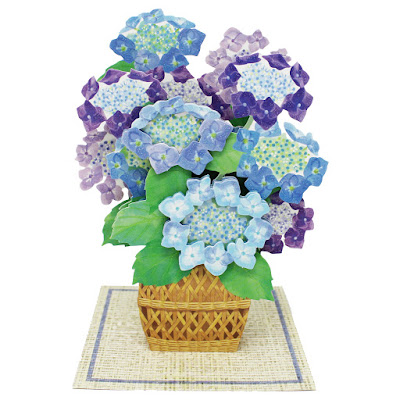 Flower Basket Bouquet Of Elegant Hydrangeas 3D Pop Up Card