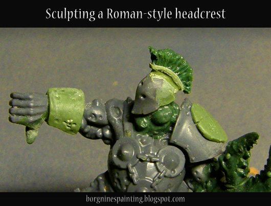 Title picture showing a converted Nurgle Putrid Blightking with a Roman-style headcrest on his helmet.