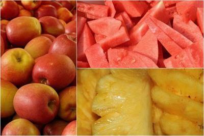 Bahan mix buah apel semangka nanas untuk jus bayam diet