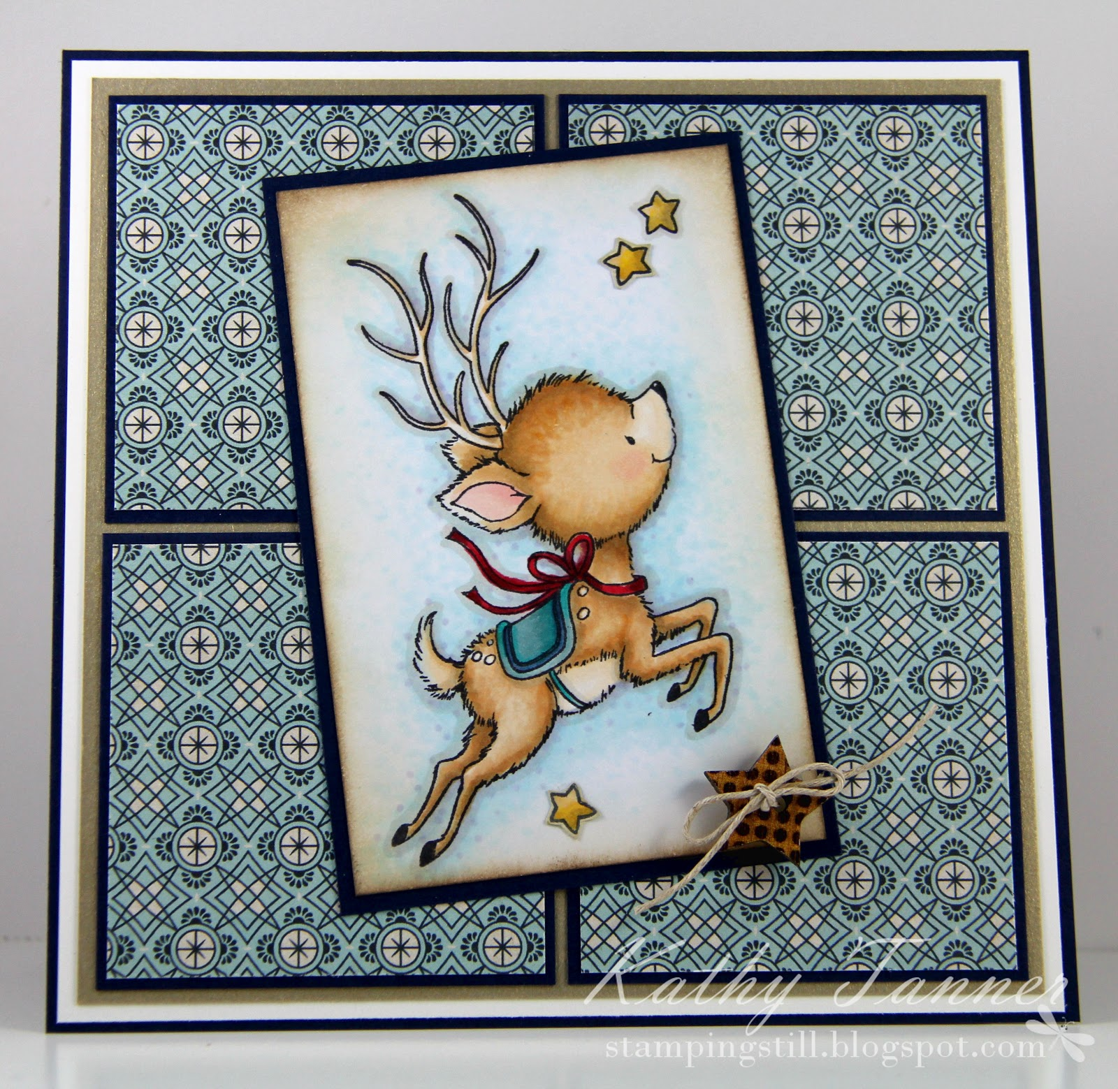 reindeer flying, wild rose studio, christmas