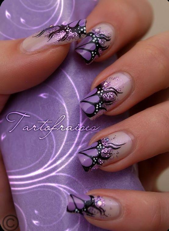 Wedding Nails in Purple Designs