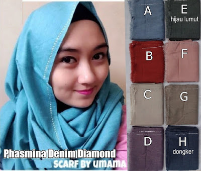 Model Jilbab Terbaru Pashmina Denim Diamond