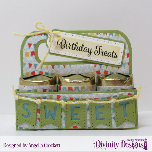 Divinity Designs LLC: Birthday Bash Paper Collection, Candy Carrier Dies, Alphabet Flags Dies, Treat Tags Dies, Treat Tag Sentiments 3; Designed by Angie Crockett