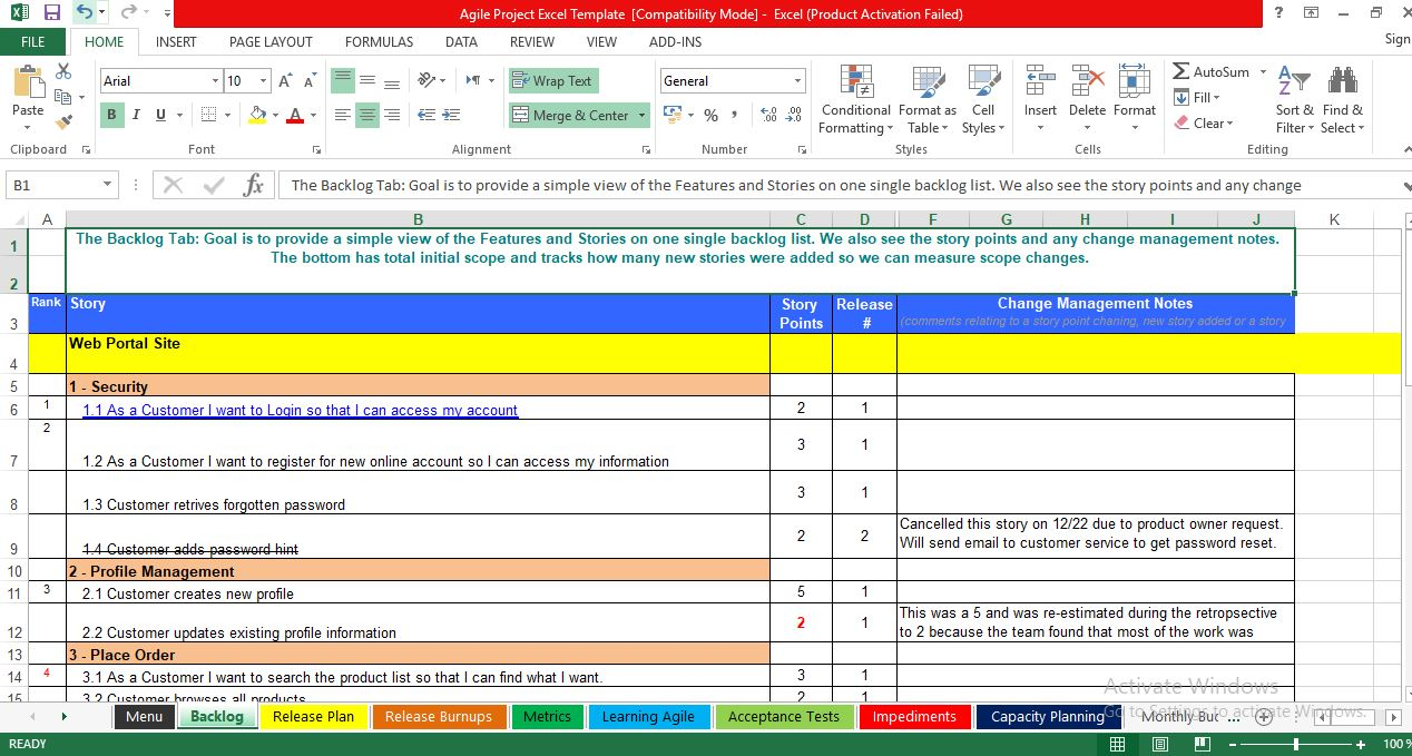 Download Free Agile Project Management Excel Template