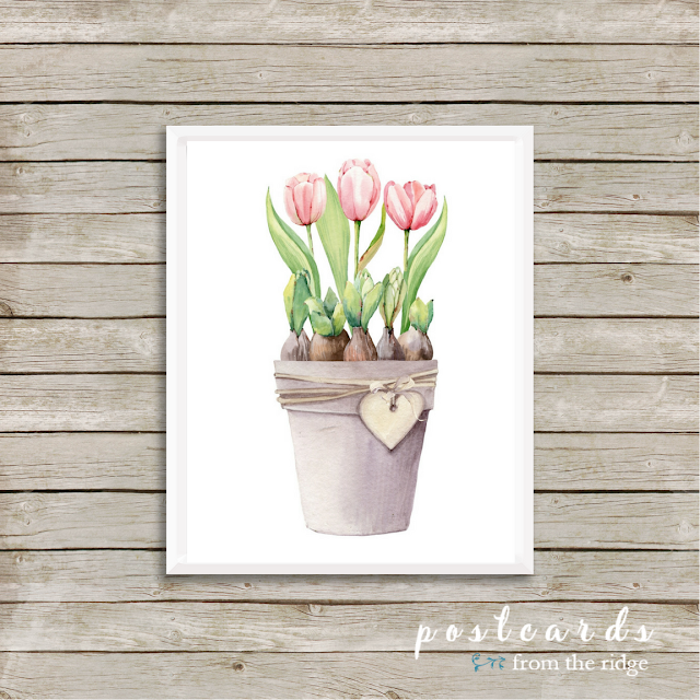 watercolor pink spring tulips free printable