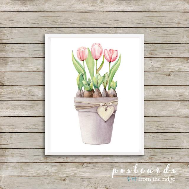 watercolor pink spring tulips free printable