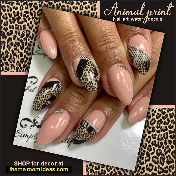 animal print Nail art water decals leopard print nail design wild cats nail art decorating wild animal nails