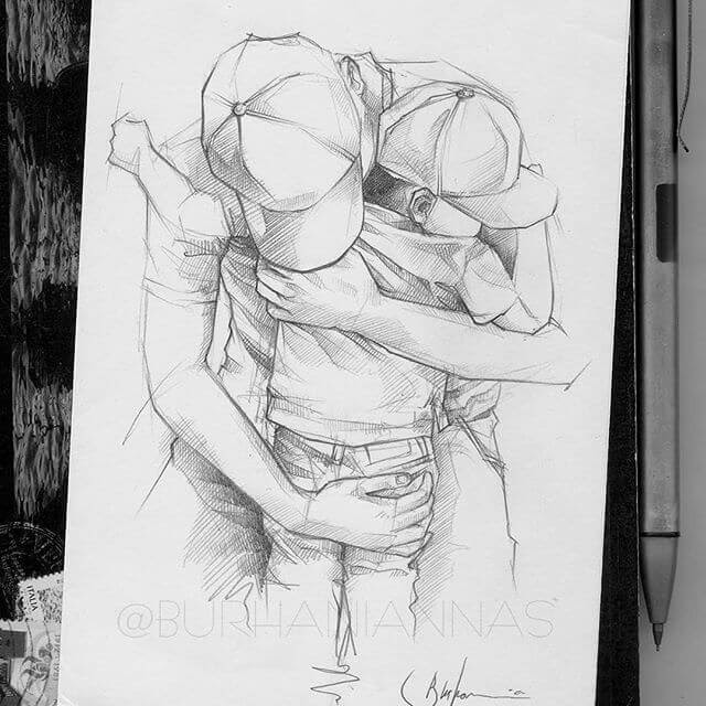 07-Safe-in-a-parent-arms-Nas-Pencil-Drawings-www-designstack-co
