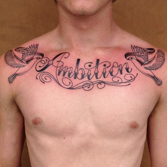 Dove + Word Tattoo on Chest