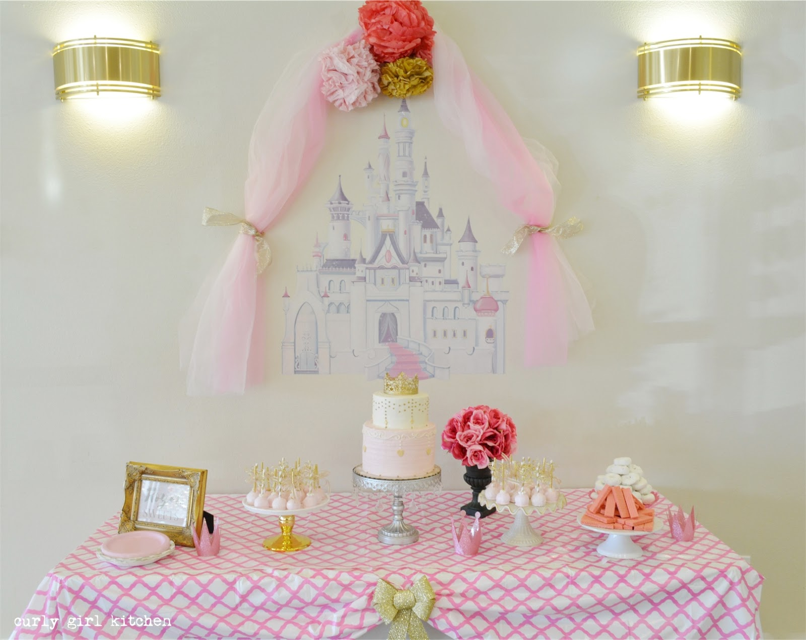 Curly Girl Kitchen: Pink and Gold Princess Party Cake