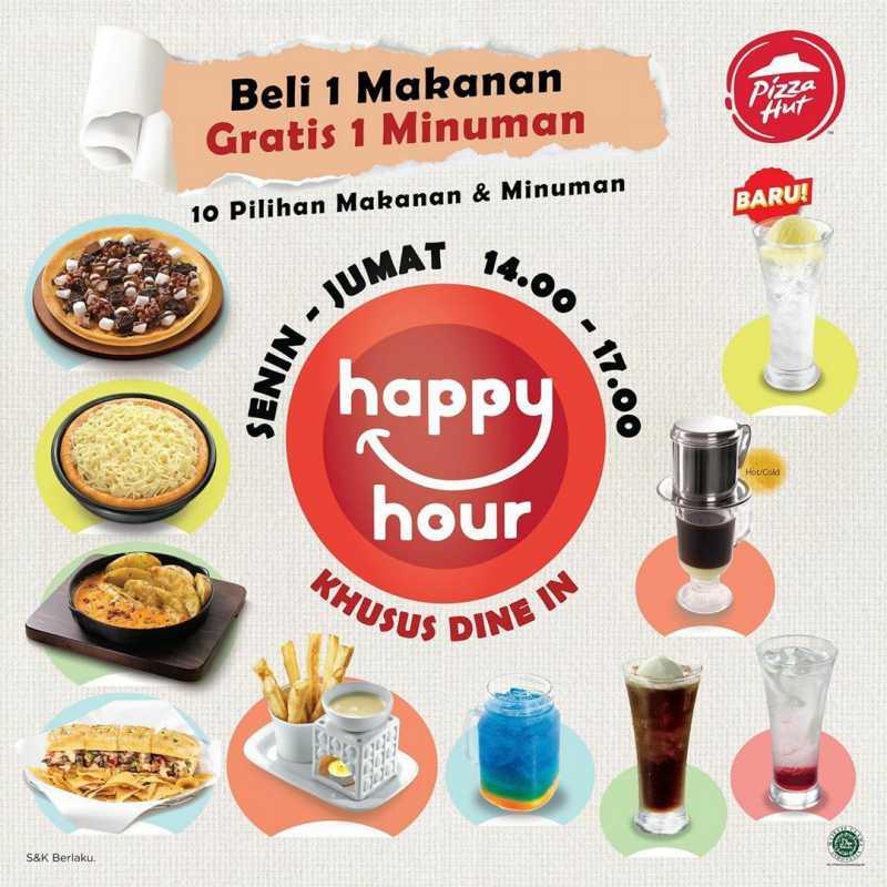 Pizza HUT Promo Happy Hour Beli 1 Makanan Gratis 1 Minuman Tiap Senin – Jumat