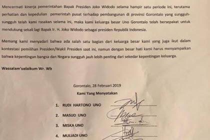Dinilai Lebih Perhatian, Keluarga Uno Deklarasikan Dukungannya Kepada Capres Jokowi-Makruf Amin