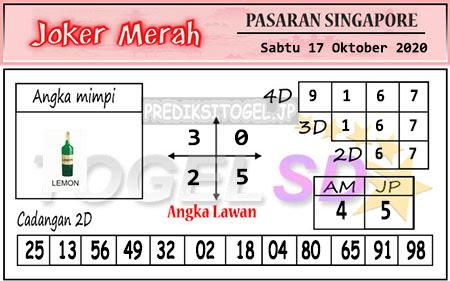 Pred Joker Merah SGP Sabtu 17 Oktober 2020