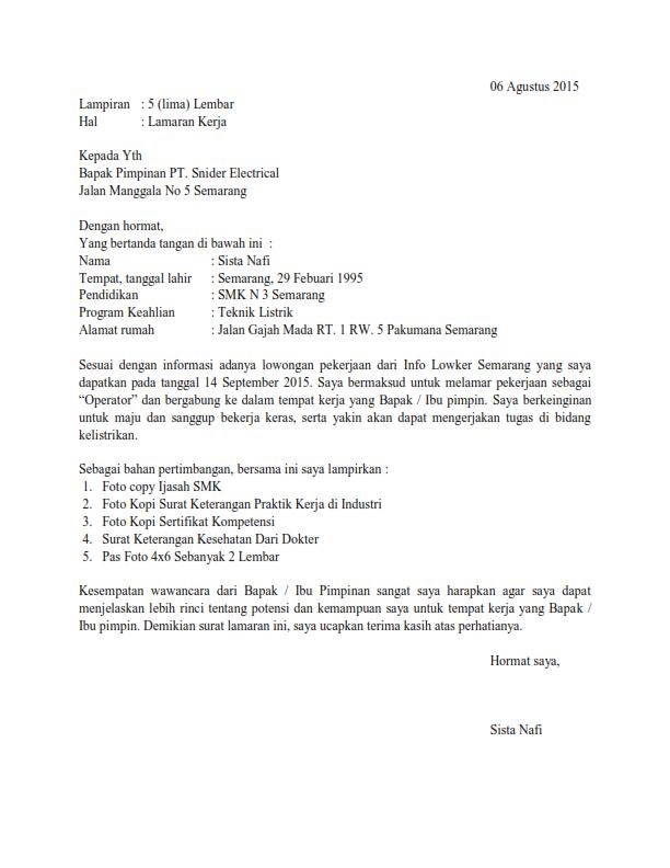 14++ Contoh surat lamaran pekerjaan jurusan tkj terbaru terbaru
