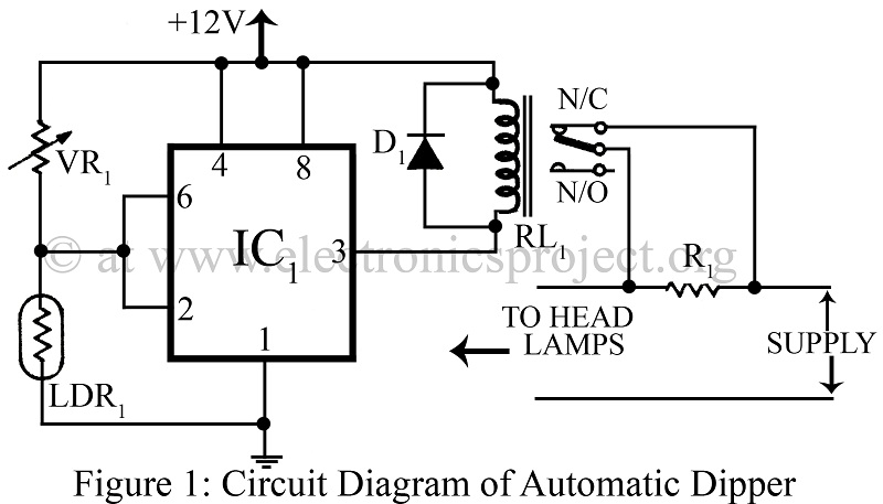 automatic dipper for vehicles project circuit diagram