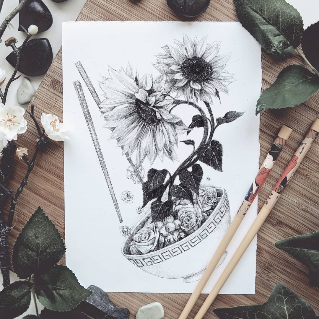 07-Sunflowers-and-Roses-Mike-Koubou-Staging-Ink-and-Pencil-Drawings-www-designstack-co