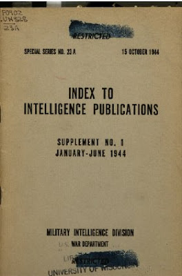 Index to Intelligence Publications Supplement No. 1