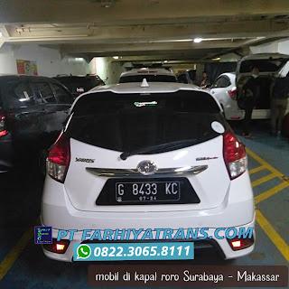 Kirim mobil dari Pekalongan tujuan ke Makassar, transit di Pelabuhan Tanjung Perak Surabaya ke Pelabuhan Makassar, perkiraan perjalanan 2-3 hari.