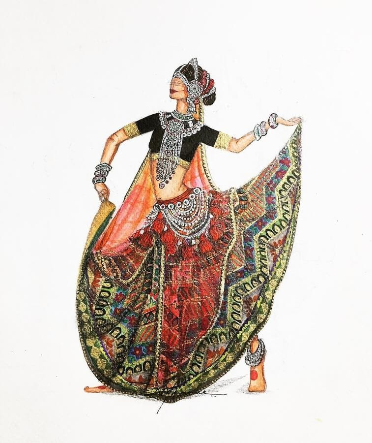 13-Indian-Dress-Drawings-Anoopbarwa-www-designstack-co