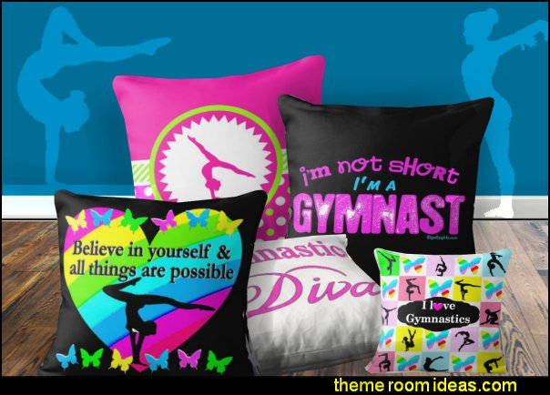 gymnastic throw pillows gymnast pillows gymnastics bedroom decor girls sports gymnastics decorating