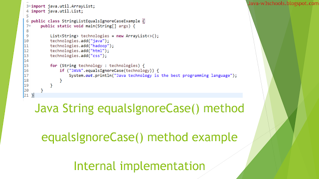 String equalsIgnoreCase​ method in java