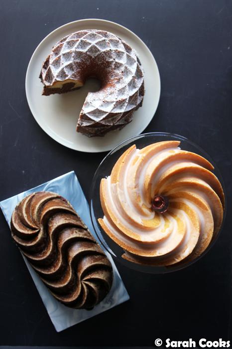 Gingerbread loaf cake, lemon bundt, marmorkuchen marble cake